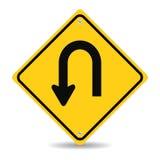Gire para trás o sinal de estrada Fotografia de Stock Royalty Free