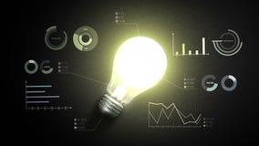 Gire sobre a luz de bulbo, e vários cartas e gráficos econômicos, conceito da ideia video estoque