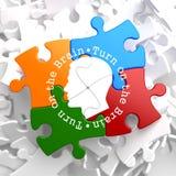Gire sobre o cérebro: Enigma multicolorido. Imagens de Stock Royalty Free