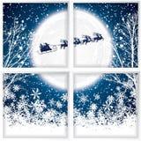Giri del Babbo Natale in una slitta della renna Fotografia Stock