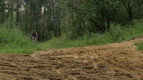 Giri del ciclista attraverso la foresta archivi video