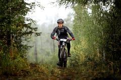Giri del ciclista dell'atleta del giovane attraverso la foresta immagine stock