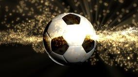 Giri del pallone da calcio con le luci gialle intorno video d archivio