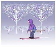 Giri del ragazzino sugli sci in parco Fotografia Stock Libera da Diritti
