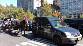 Giri del trasporto e del cavallo fra traffico, Central Park, NYC, NY, U.S.A. Immagini Stock Libere da Diritti