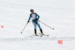 Giri dell'alpinista dello sci dal vulcano Alpinismo dello sci di Team Race Immagini Stock Libere da Diritti