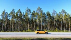 Giri dell'automobile all'alta velocità sulla strada principale contro un'abetaia confusa, automobile confusa nei precedenti dei p immagini stock libere da diritti