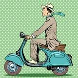 Giri dell'uomo su un motorino d'annata illustrazione vettoriale