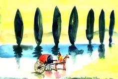 Giri della biga lungo il viale con un cipresso illustrazione di stock