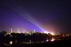Giri di festival dell'isola di Wight alla notte Fotografie Stock