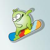 Giri divertenti dello snowboarder del mostro Fotografia Stock Libera da Diritti