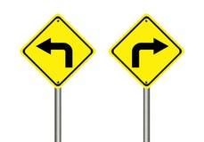 Giri il segnale stradale destro e sinistro Fotografia Stock