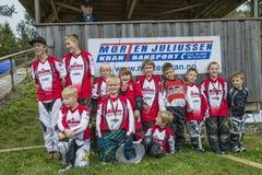 Giri intorno al campionato nel riciclaggio del bmx, nel gruppo di Halden e di Aremark BMX Fotografie Stock Libere da Diritti