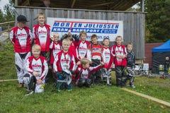 Giri intorno al campionato nel riciclaggio del bmx, nel gruppo di Halden e di Aremark BMX Immagini Stock