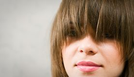 Giri lips. Girl with red beutiful lips Royalty Free Stock Photo