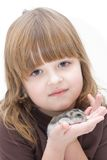 Girk and her pet Royalty Free Stock Image