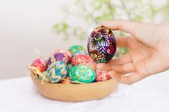 Girl's hand with Easter egg Stock Image
