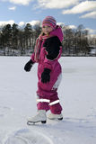 Girl´s skating on the lake Stock Photography