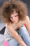 Girl. With curls hair portrait Royalty Free Stock Image