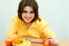 Girl. In yellow clothes Royalty Free Stock Images