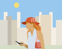 Girl. Business girl on the street Vector Illustration