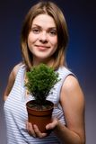 Girl. Beutyful girl with green tree Stock Photography