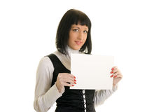 Girl. Holding white paper on white background Royalty Free Stock Photography