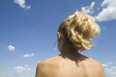 Girl. Looking at the sky Stock Photography