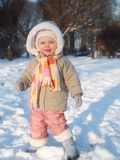 Girl. Baby with big cap during winter Royalty Free Stock Photos