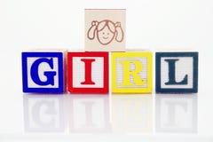 Girl. Word Girl in wooden blocks Stock Image