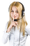 Girl. Beautiful business customer service woman - isolated over a white background Royalty Free Stock Photos