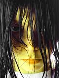 The girl. With a yellow leather. With wet hair on which ants creep Royalty Free Stock Images