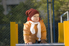 The girl. Little girl of 2 years on a children's playground one Royalty Free Stock Photos