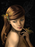 Girl. Portrait of the beautiful girl with ornaments in the form of dragonflies Stock Images