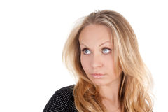Girl. Closeup image of the young beautiful surprised blond girl Stock Photography