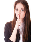 Girl. Portrate of a girl with a finger near the lips Stock Image