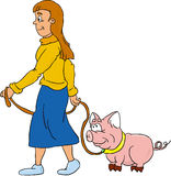 Girl. With a pig Stock Images