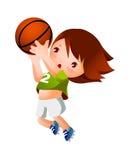 A girl. Is throwing basketball Stock Image