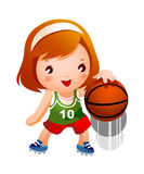 A girl. Is bouncing basketball Stock Photography