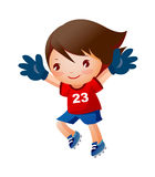 A girl. Is playing a football Stock Photo