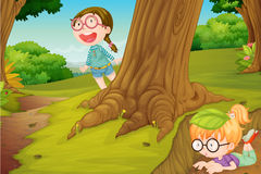 Girl. Illustration of girls playing in  hide and seek in nature Royalty Free Stock Image