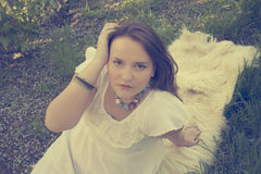 Girl. Beautiful girl posing on the mat Stock Photography