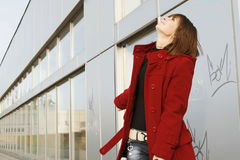 Girl_305. Portrait of a young happy girl in red coat stock photos