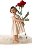 Girl. With big flower Royalty Free Stock Photography