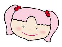 Girl. A sweet face of a girl, vector, illustration, drawing Stock Image