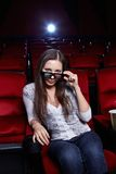The girl in 3D glasses Stock Photos