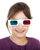 Girl with 3D glasses Royalty Free Stock Photos