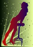 Girl. With chair on green background stock illustration