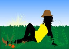 Girl. Beautiful girl in grass illustration Stock Photography