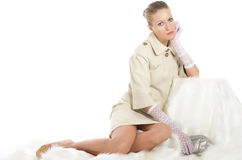 Girl in 50's style. On white background Royalty Free Stock Images